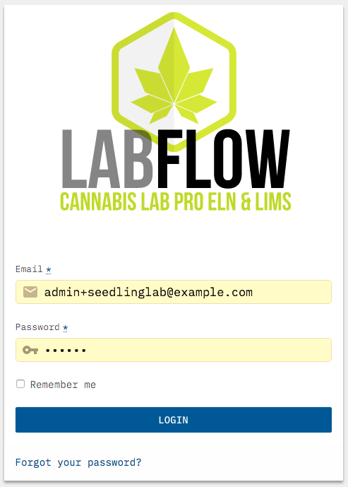 LabFlow log-in